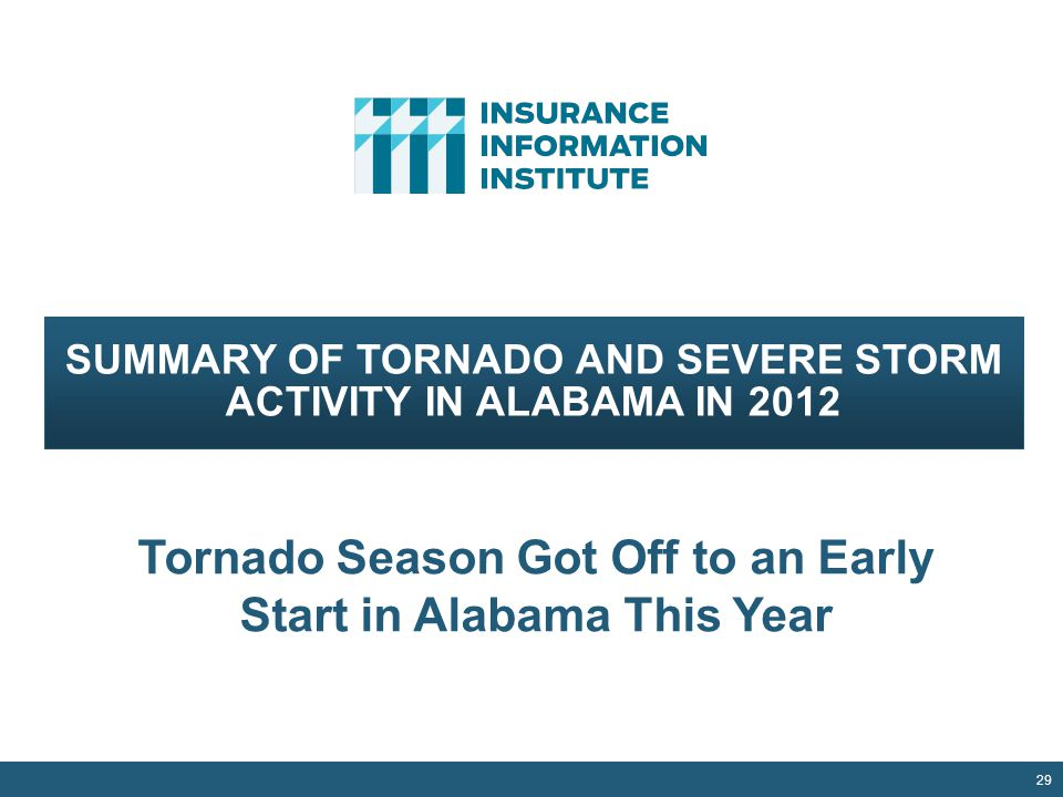 29 SUMMARY OF TORNADO AND SEVERE STORM ACTIVITY IN ALABAMA IN 2012 Tornado Season Got Off to an Early Start in Alabama This Year