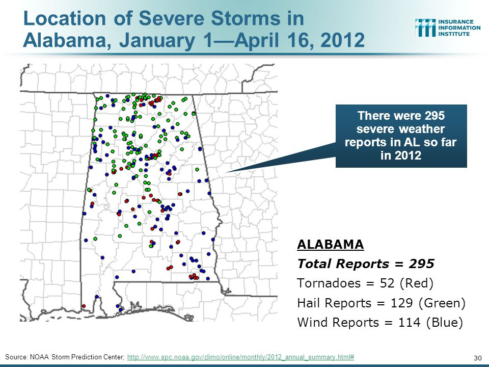 Location of Severe Storms in Alabama, January 1—April 16, Source: NOAA Storm Prediction Center;   ALABAMA Total Reports = 295 Tornadoes = 52 (Red) Hail Reports = 129 (Green) Wind Reports = 114 (Blue) There were 295 severe weather reports in AL so far in 2012