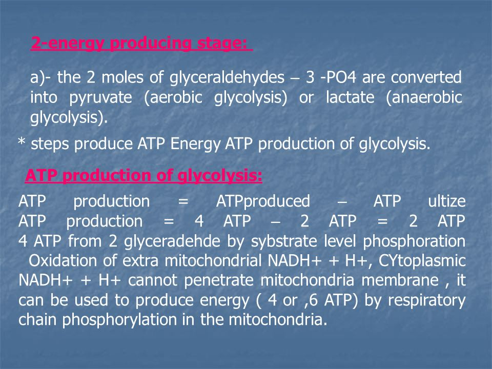 2-energy producing stage: a)- the 2 moles of glyceraldehydes – 3 -PO4 are converted into pyruvate (aerobic glycolysis) or lactate (anaerobic glycolysis).