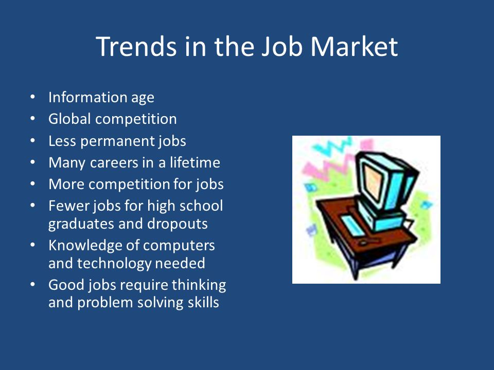 Trends in the Job Market Information age Global competition Less permanent jobs Many careers in a lifetime More competition for jobs Fewer jobs for high school graduates and dropouts Knowledge of computers and technology needed Good jobs require thinking and problem solving skills