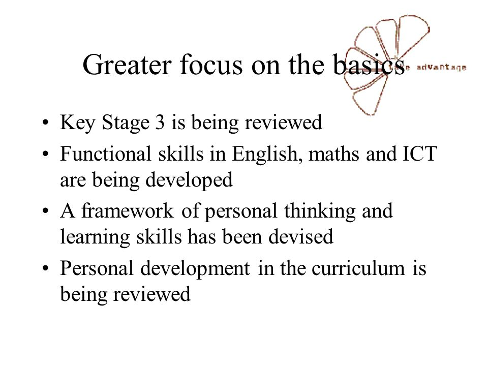 Greater focus on the basics Key Stage 3 is being reviewed Functional skills in English, maths and ICT are being developed A framework of personal thinking and learning skills has been devised Personal development in the curriculum is being reviewed