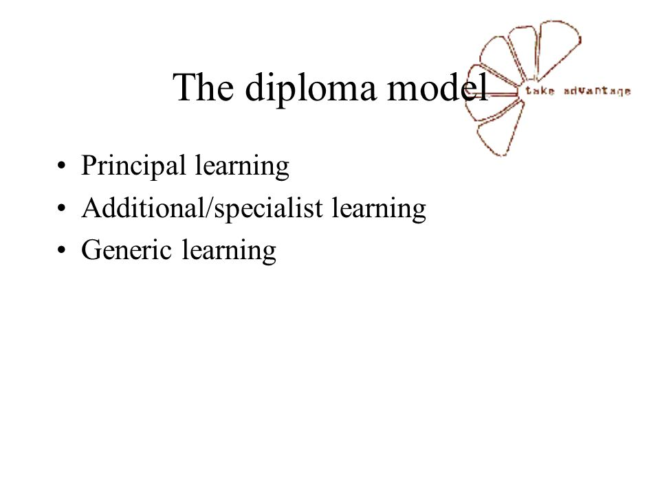 The diploma model Principal learning Additional/specialist learning Generic learning