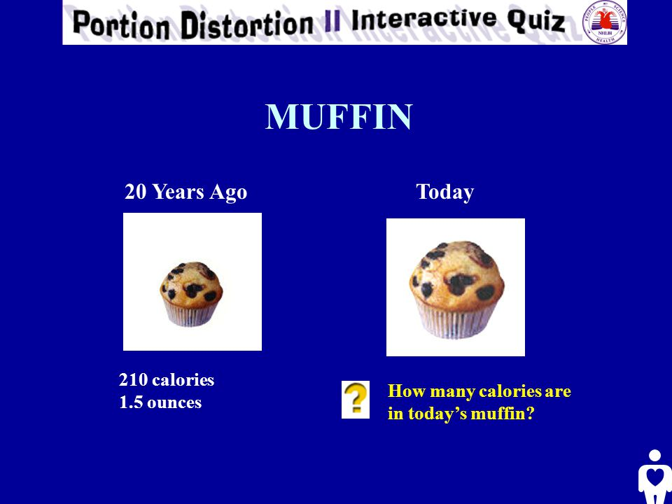 MUFFIN 20 Years AgoToday 210 calories 1.5 ounces How many calories are in today's muffin