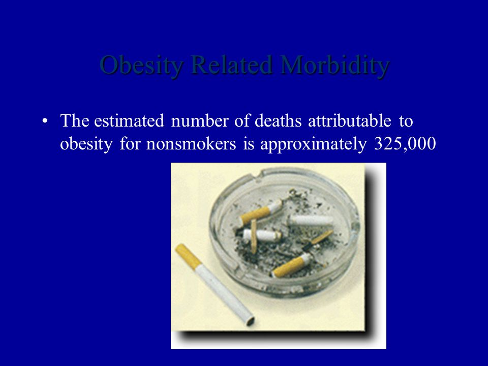 Obesity Related Morbidity The estimated number of deaths attributable to obesity for nonsmokers is approximately 325,000