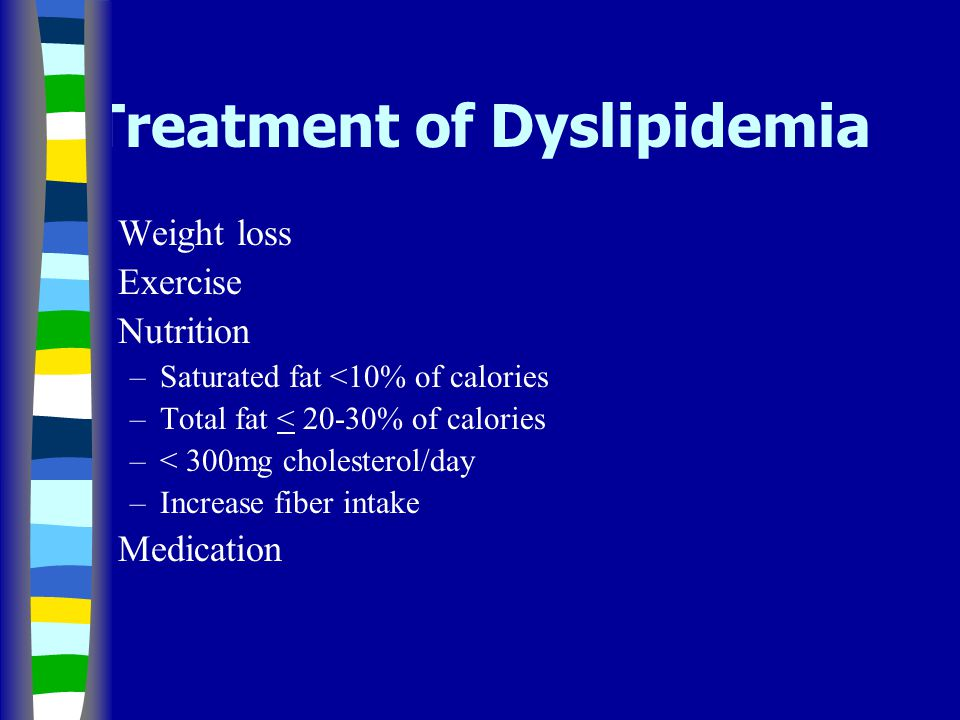 Treatment of Dyslipidemia Weight loss Exercise Nutrition –Saturated fat <10% of calories –Total fat < 20-30% of calories –< 300mg cholesterol/day –Increase fiber intake Medication