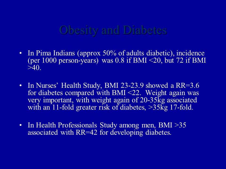 Obesity and Diabetes In Pima Indians (approx 50% of adults diabetic), incidence (per 1000 person-years) was 0.8 if BMI 40.