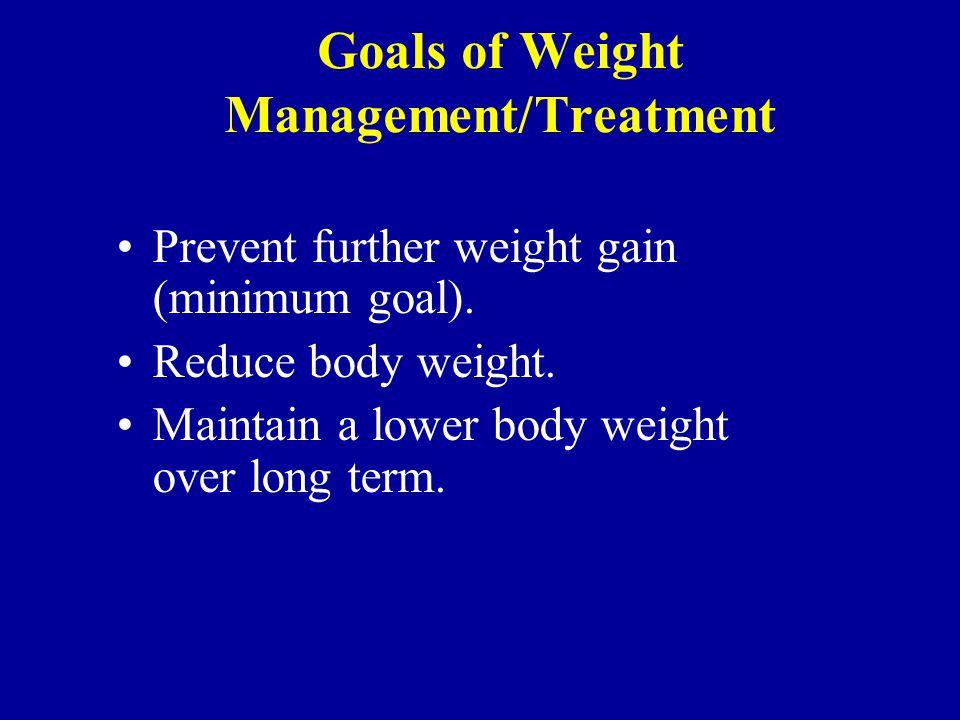 Goals of Weight Management/Treatment Prevent further weight gain (minimum goal).
