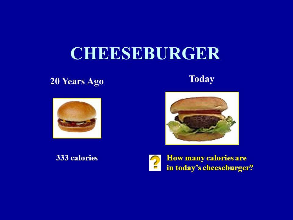 CHEESEBURGER 20 Years Ago Today 333 caloriesHow many calories are in today's cheeseburger
