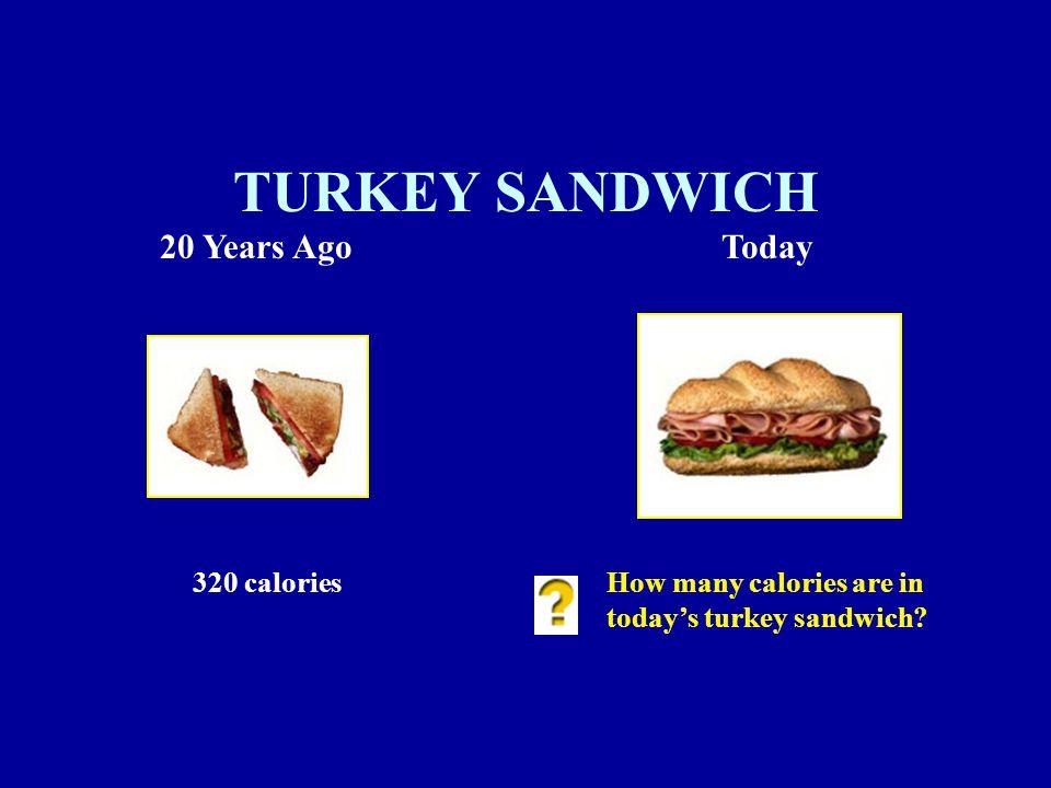 320 caloriesHow many calories are in today's turkey sandwich TURKEY SANDWICH 20 Years AgoToday