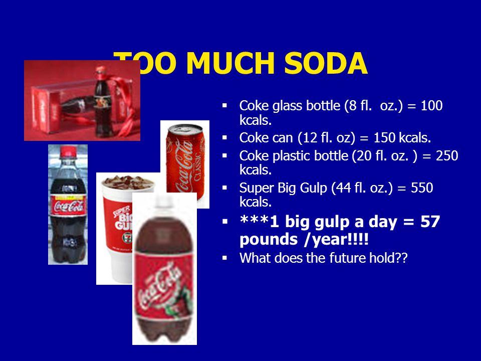 TOO MUCH SODA  Coke glass bottle (8 fl. oz.) = 100 kcals.