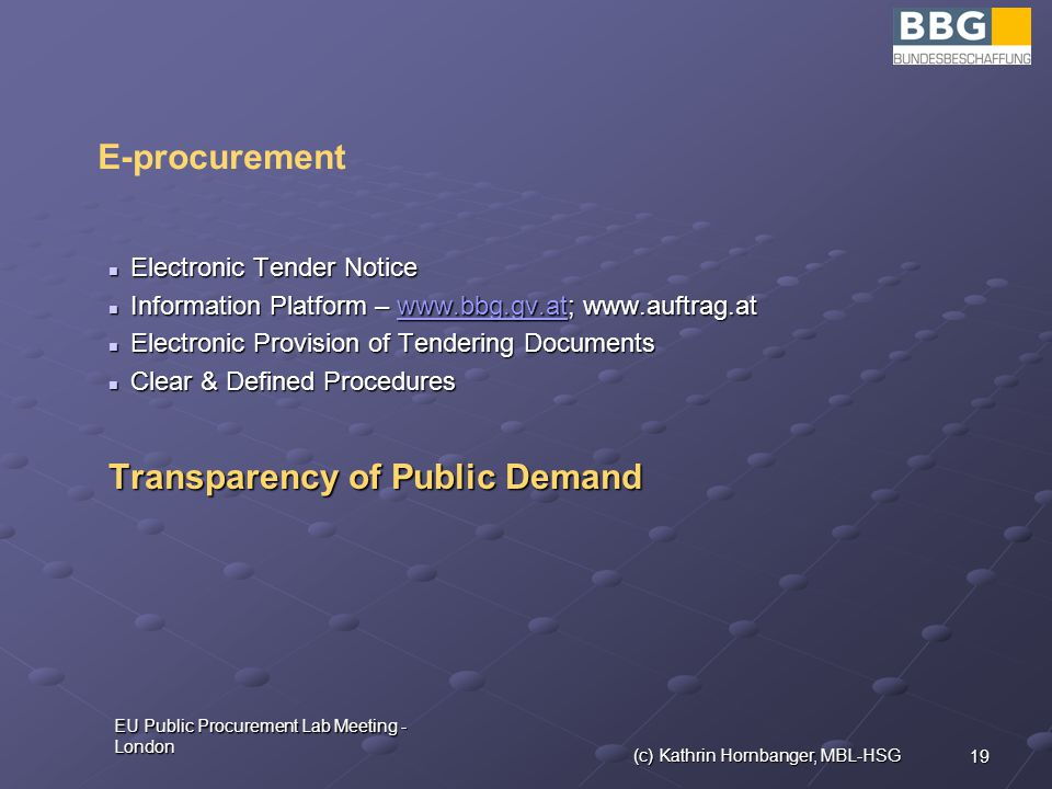 19 EU Public Procurement Lab Meeting - London (c) Kathrin Hornbanger, MBL-HSG Electronic Tender Notice Electronic Tender Notice Information Platform –     Information Platform –     Electronic Provision of Tendering Documents Electronic Provision of Tendering Documents Clear & Defined Procedures Clear & Defined Procedures Transparency of Public Demand E-procurement