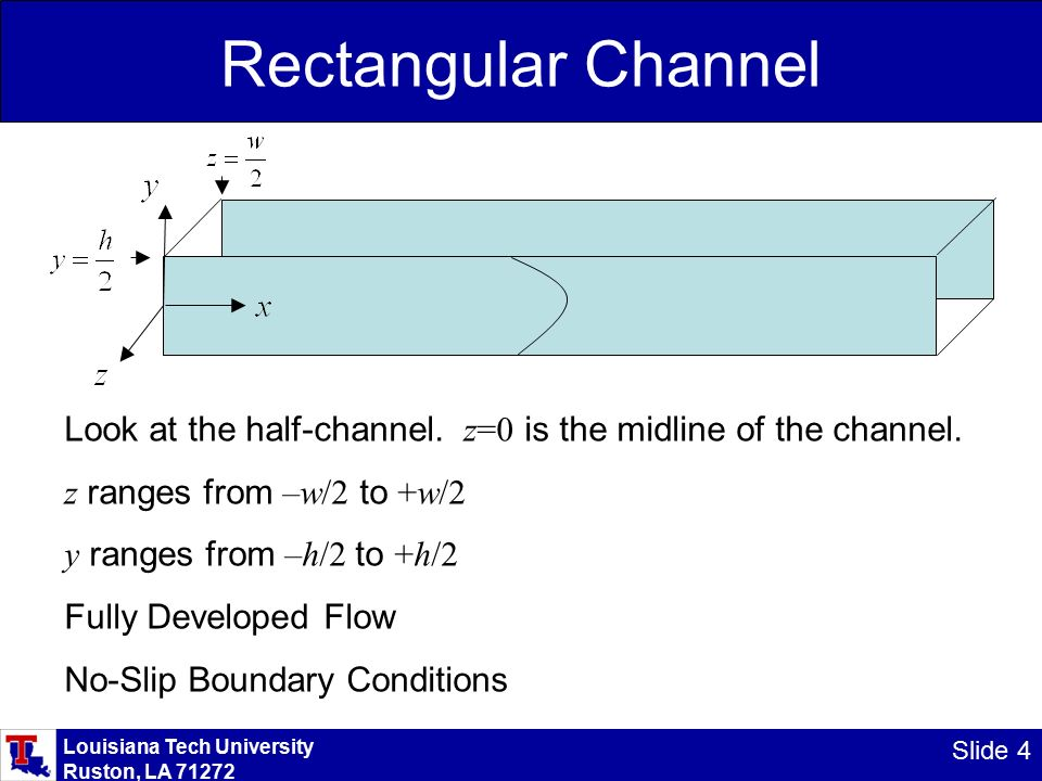 Louisiana Tech University Ruston, LA Slide 4 Rectangular Channel Look at the half-channel.
