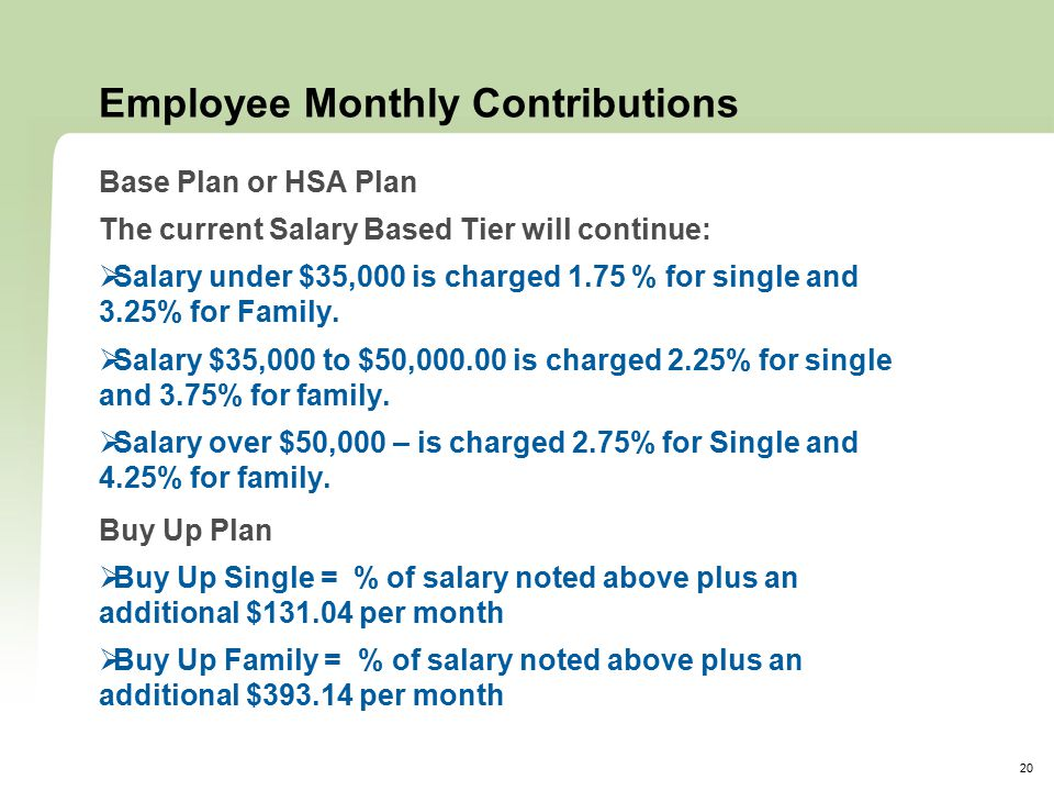20 Employee Monthly Contributions Base Plan or HSA Plan The current Salary Based Tier will continue:  Salary under $35,000 is charged 1.75 % for single and 3.25% for Family.