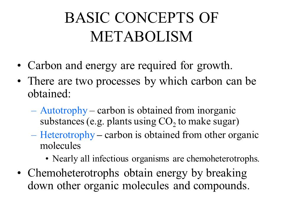 BASIC CONCEPTS OF METABOLISM Carbon and energy are required for growth.
