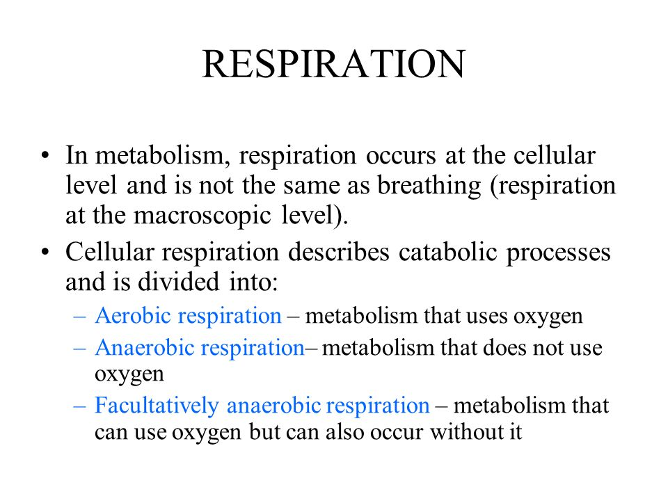RESPIRATION In metabolism, respiration occurs at the cellular level and is not the same as breathing (respiration at the macroscopic level).