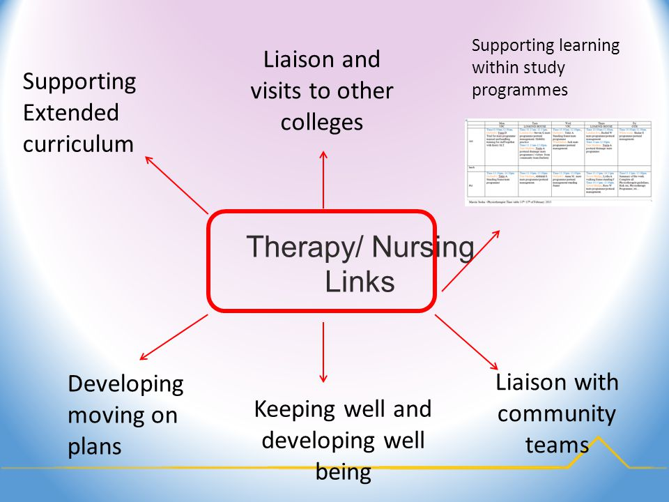 Therapy/ Nursing Links Developing moving on plans Supporting Extended curriculum Supporting learning within study programmes Liaison and visits to other colleges Liaison with community teams Keeping well and developing well being