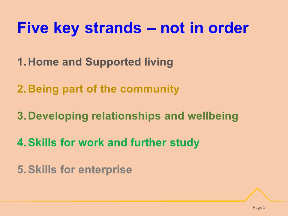 Five key strands – not in order Page 5 1.Home and Supported living 2.Being part of the community 3.Developing relationships and wellbeing 4.Skills for work and further study 5.Skills for enterprise