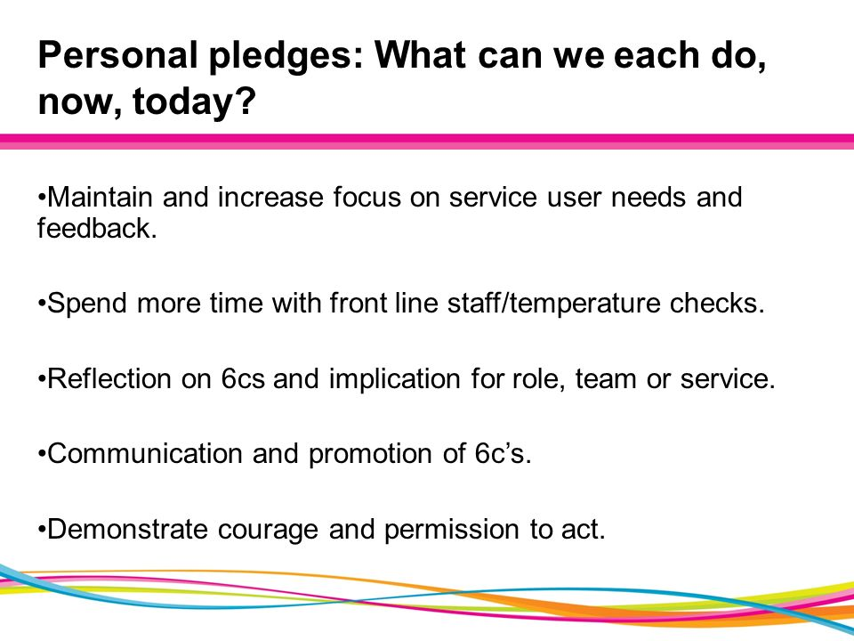 Personal pledges: What can we each do, now, today.