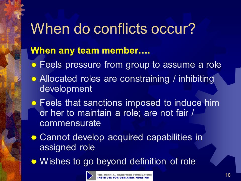 18 When do conflicts occur. When any team member….