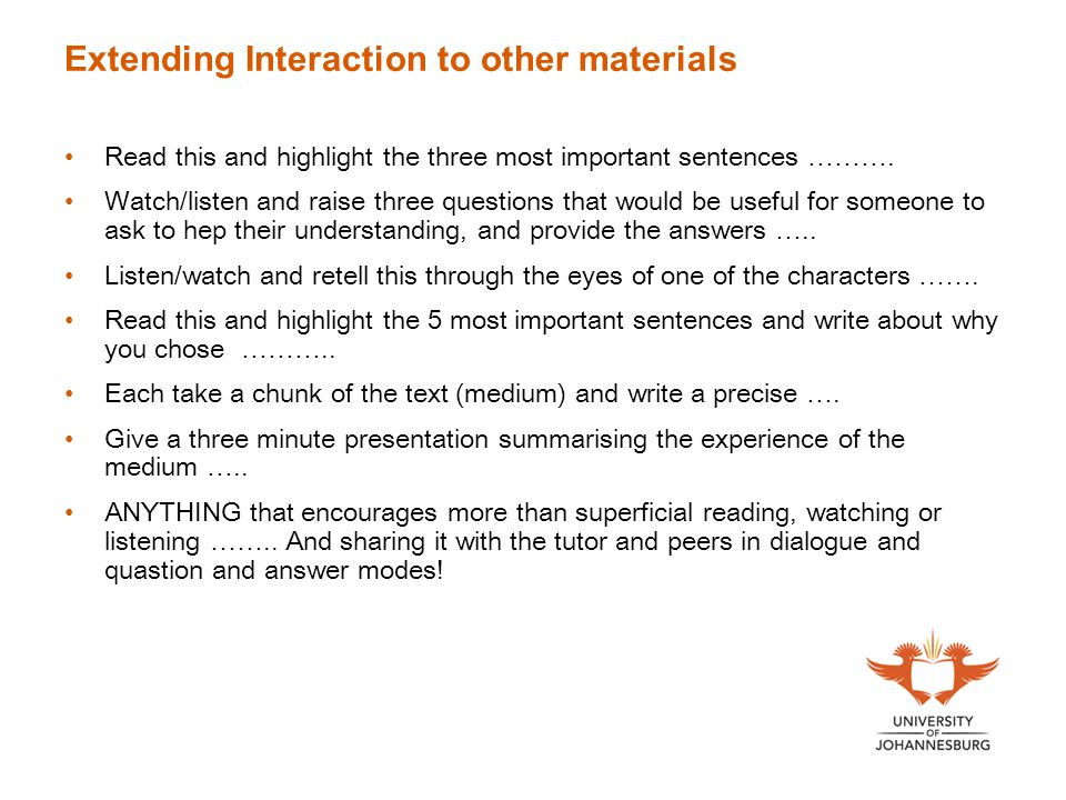 Extending Interaction to other materials Read this and highlight the three most important sentences ……….