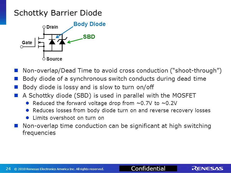 Confidential Schottky Barrier Diode Non-overlap/Dead Time to avoid cross conduction ( shoot-through ) Body diode of a synchronous switch conducts during dead time Body diode is lossy and is slow to turn on/off A Schottky diode (SBD) is used in parallel with the MOSFET Reduced the forward voltage drop from ~0.7V to ~0.2V Reduces losses from body diode turn on and reverse recovery losses Limits overshoot on turn on Non-overlap time conduction can be significant at high switching frequencies © 2010 Renesas Electronics America Inc.