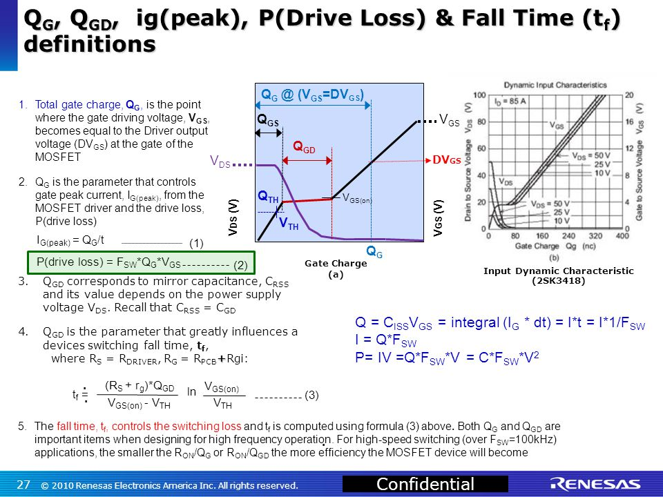 Confidential 1.Total gate charge, Q G, is the point where the gate driving voltage, V GS, becomes equal to the Driver output voltage (DV GS ) at the gate of the MOSFET 2.Q G is the parameter that controls gate peak current, I G(peak), from the MOSFET driver and the drive loss, P(drive loss) I G(peak) = Q G /t (1) P(drive loss) = F SW *Q G *V GS (2) 3.Q GD corresponds to mirror capacitance, C RSS and its value depends on the power supply voltage V DS.
