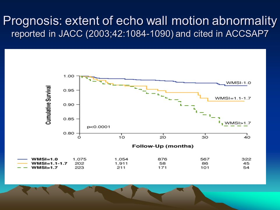 Prognosis: extent of echo wall motion abnormality reported in JACC (2003;42: ) and cited in ACCSAP7