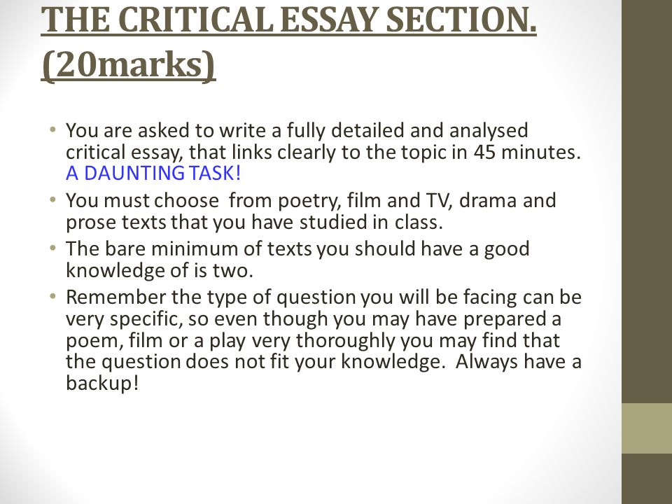 higher english critical essay paper