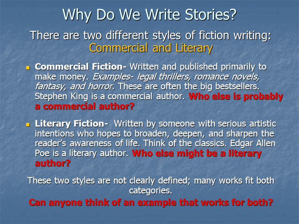 Fiction writing styles examples of cover