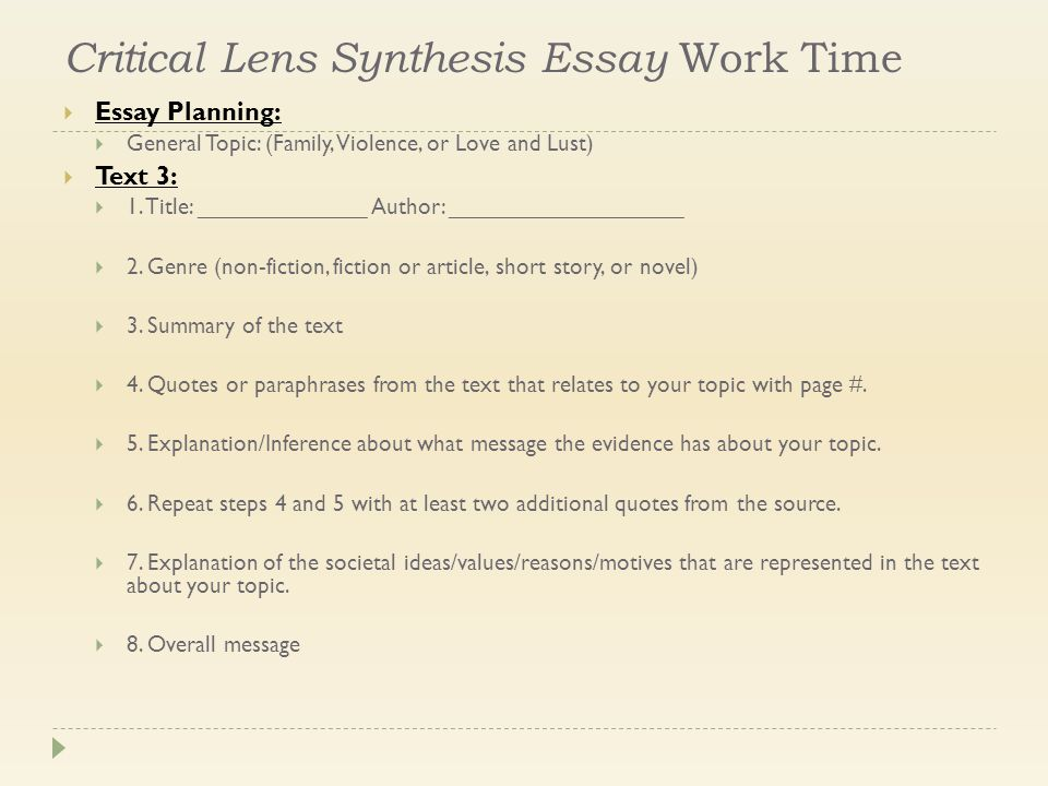 contemporary literature week ppt  critical lens synthesis essay work time  essay planning  general topic family