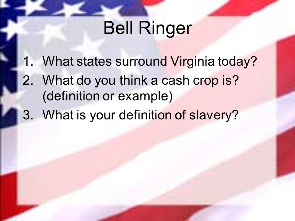 Bell Ringer 1.What states surround Virginia today.