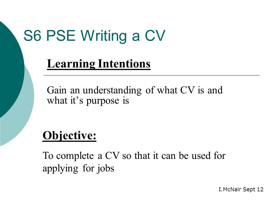 1 s6 pse writing a cv objective