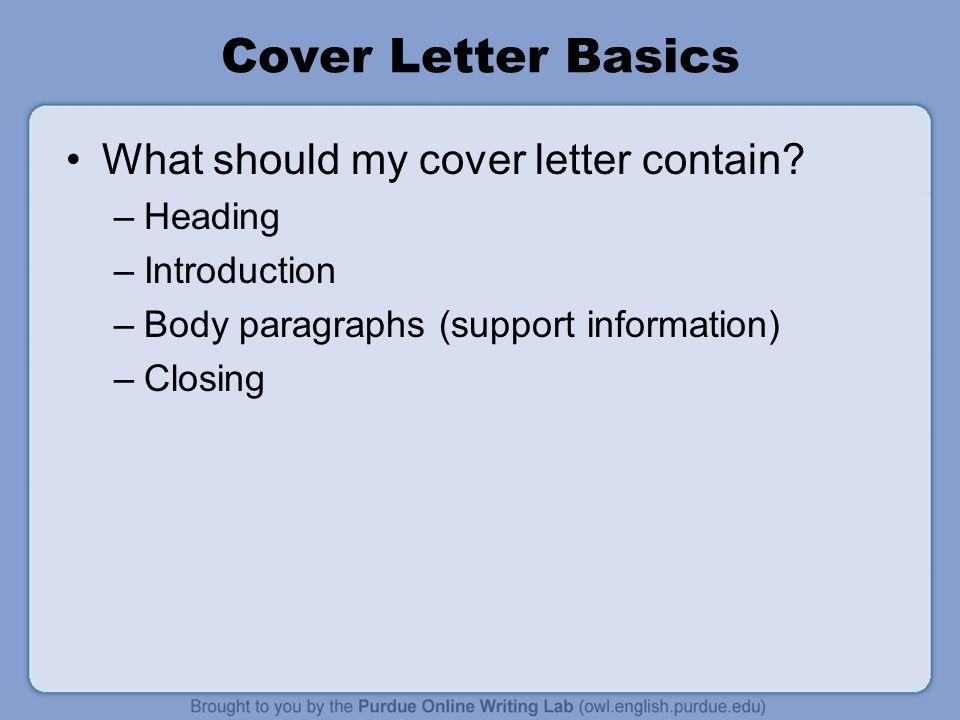cover letter basics essay