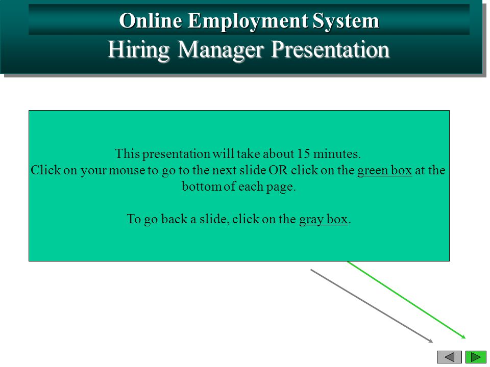 Online Employment System Hiring Manager Presentation This presentation will take about 15 minutes.