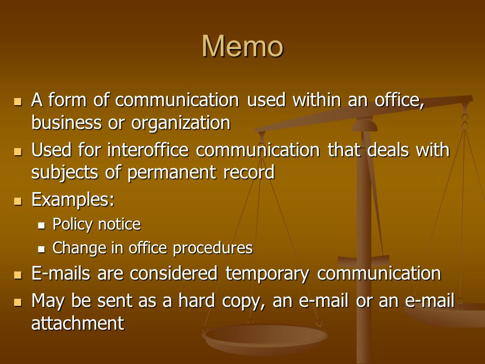 6 Memo A Form Of Communication Used Within An Office ...  Inter Office Communication Letter