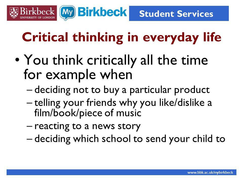 Critical Thinking Student Services Orientation 2011 Angela Dierks