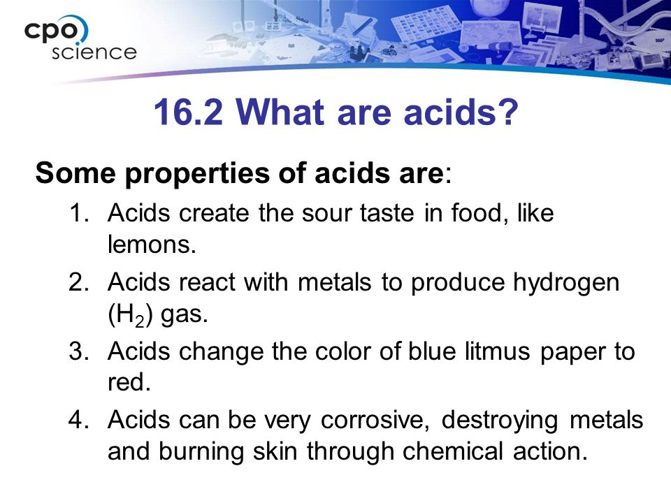 16.2 What are acids.