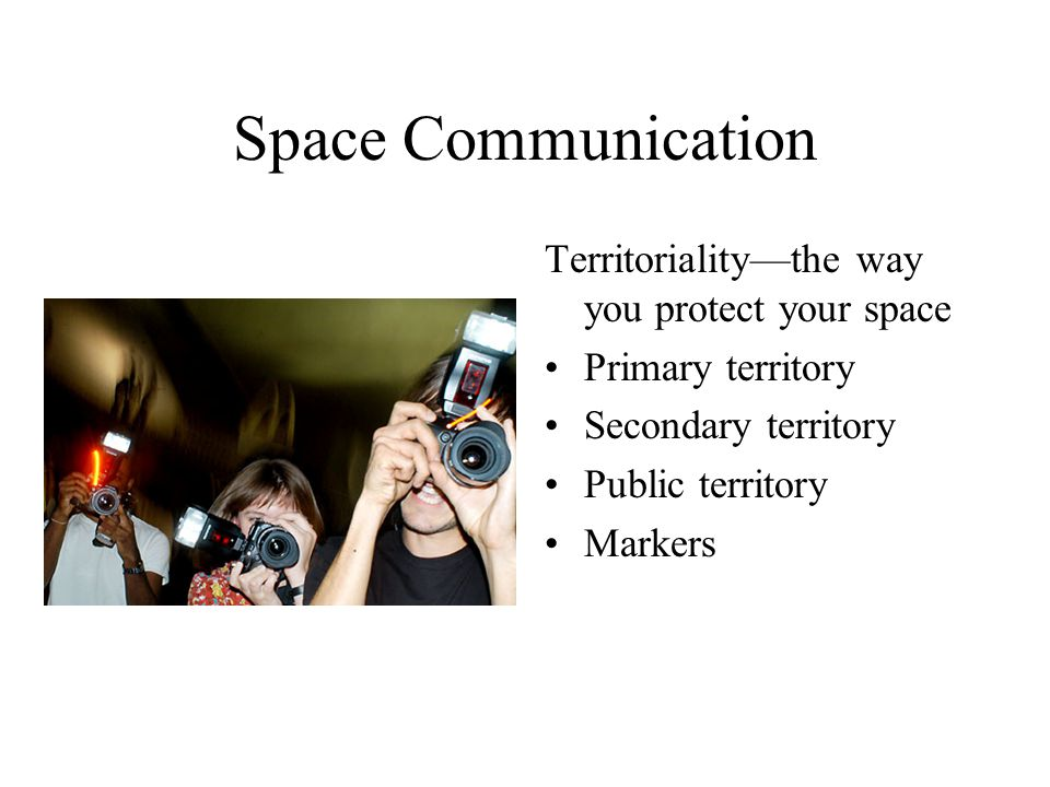 Space Communication Territoriality—the way you protect your space Primary territory Secondary territory Public territory Markers