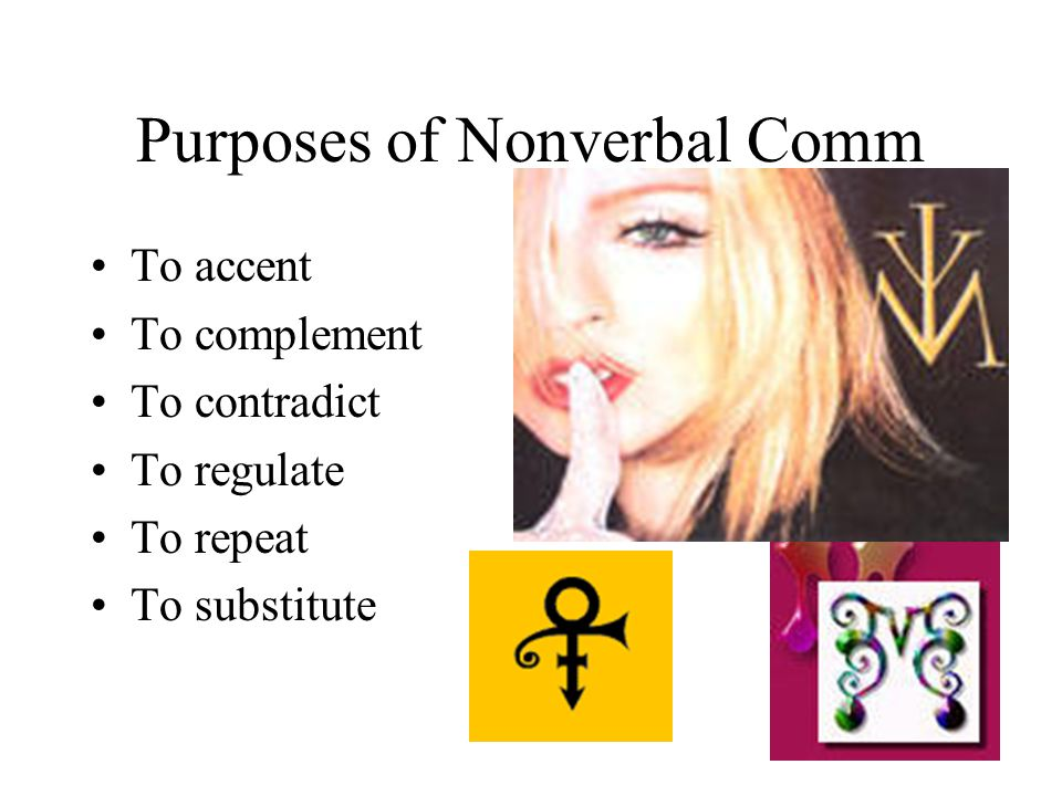 Purposes of Nonverbal Comm To accent To complement To contradict To regulate To repeat To substitute