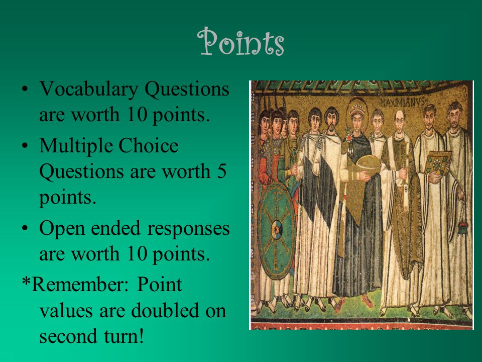 Points Vocabulary Questions are worth 10 points. Multiple Choice Questions are worth 5 points.