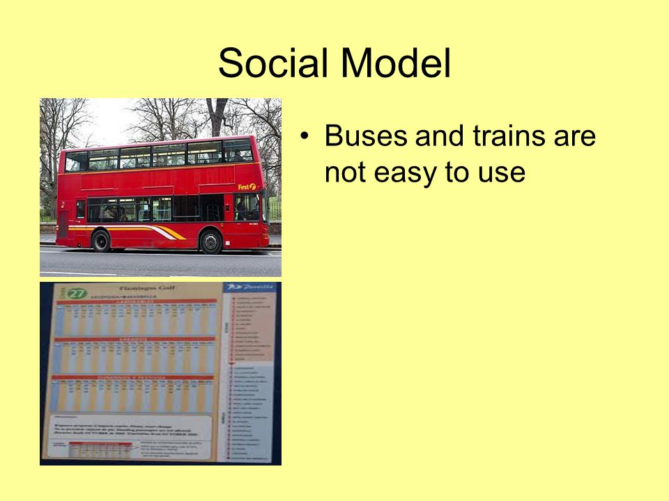 Social Model Buses and trains are not easy to use