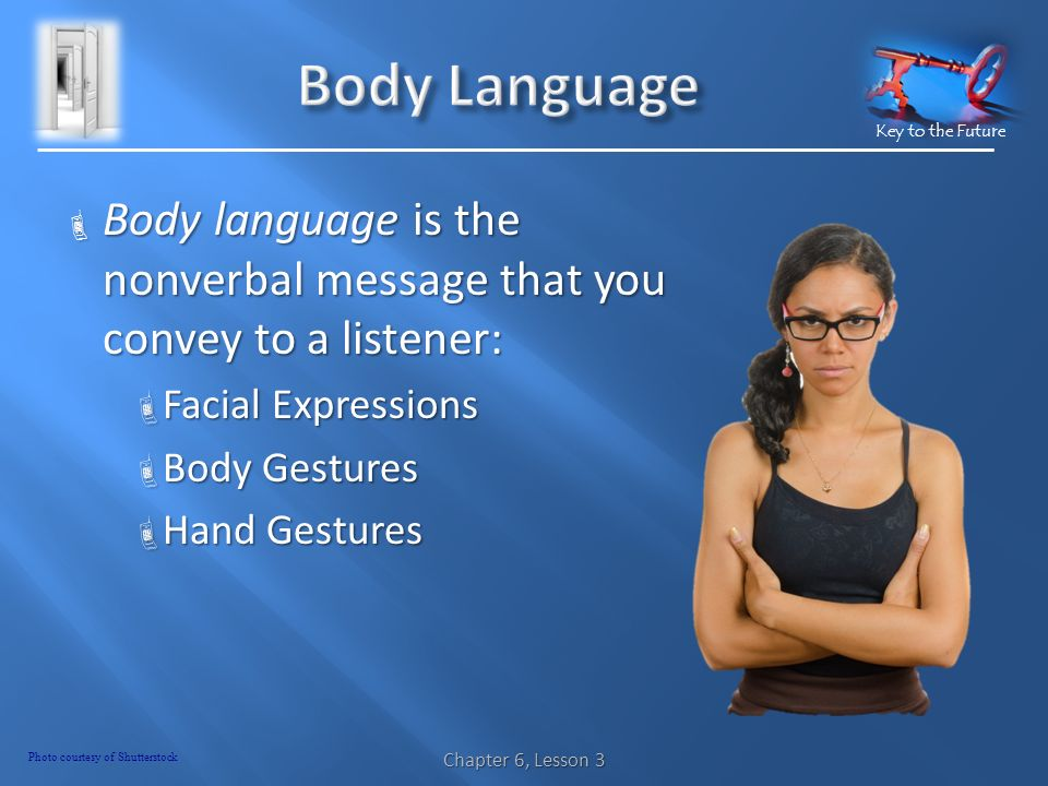 Key to the Future  Body language is the nonverbal message that you convey to a listener:  Facial Expressions  Body Gestures  Hand Gestures Chapter 6, Lesson 3 Photo courtesy of Shutterstock