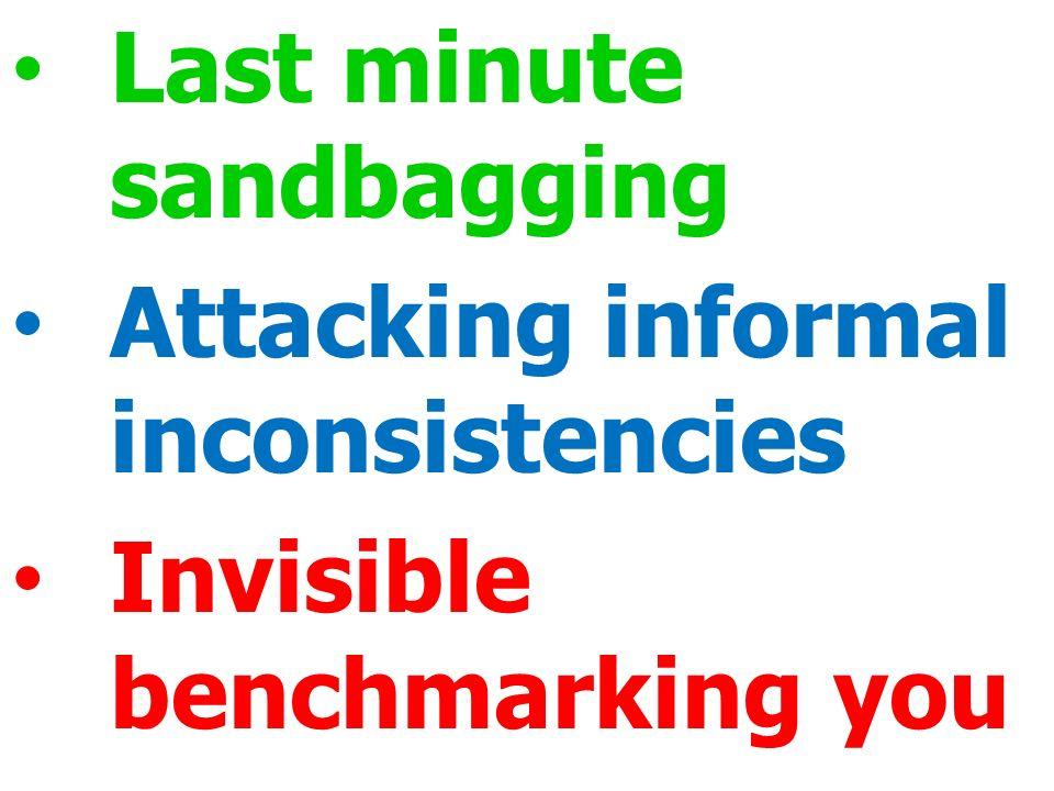Last minute sandbagging Attacking informal inconsistencies Invisible benchmarking you