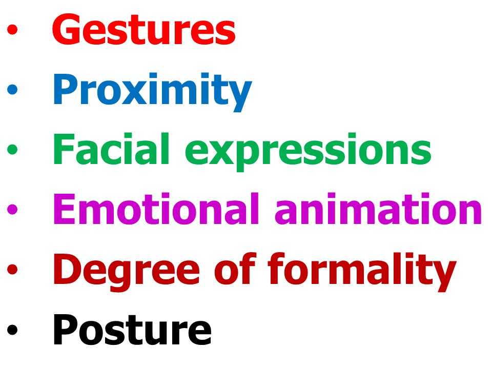 Gestures Proximity Facial expressions Emotional animation Degree of formality Posture