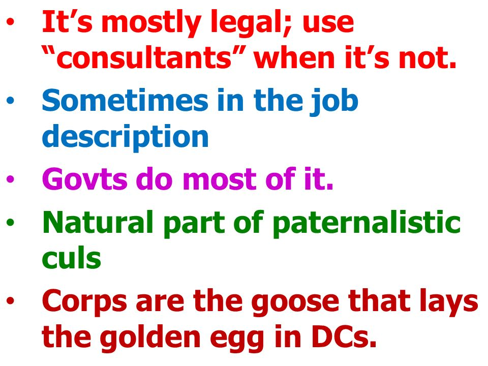It's mostly legal; use consultants when it's not.