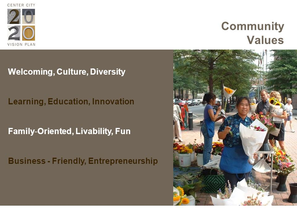 Welcoming, Culture, Diversity Learning, Education, Innovation Family-Oriented, Livability, Fun Business - Friendly, Entrepreneurship Community Values