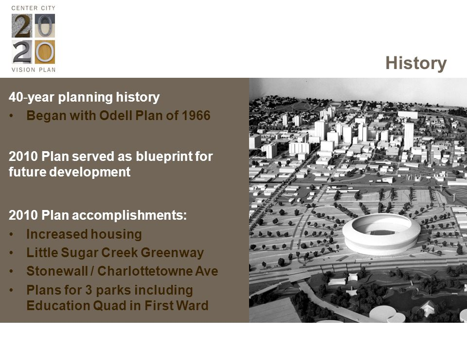 History 40-year planning history Began with Odell Plan of Plan served as blueprint for future development 2010 Plan accomplishments: Increased housing Little Sugar Creek Greenway Stonewall / Charlottetowne Ave Plans for 3 parks including Education Quad in First Ward
