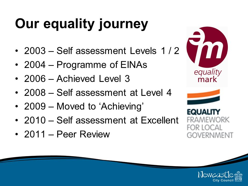 Our equality journey 2003 – Self assessment Levels 1 / – Programme of EINAs 2006 – Achieved Level – Self assessment at Level – Moved to 'Achieving' 2010 – Self assessment at Excellent 2011 – Peer Review