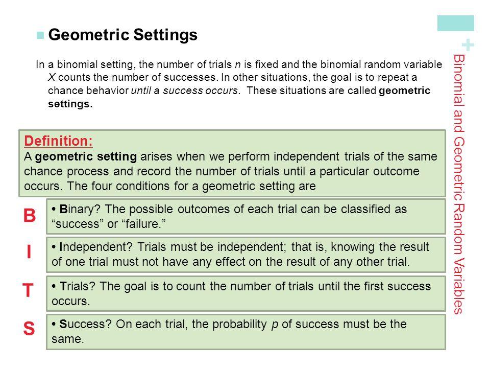 Warm Up Describe a Binomial setting. Describe a Geometric setting ...