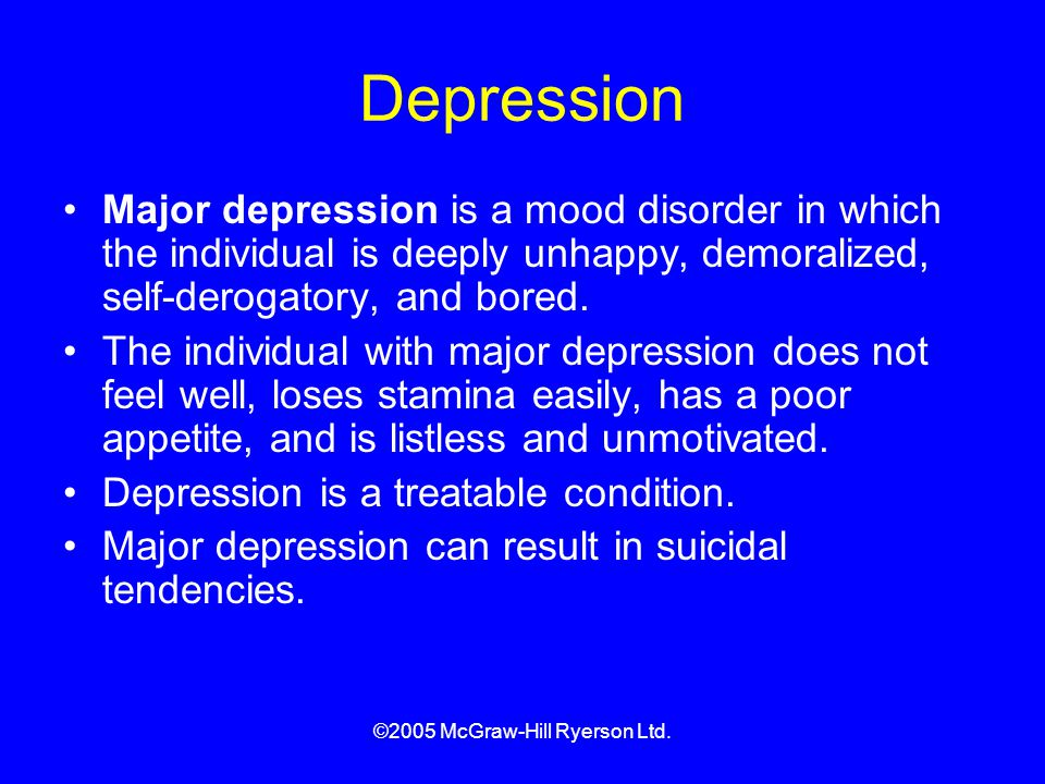 depression in late adulthood Depression in young and middle adulthood: a summary of the problem and treatments.